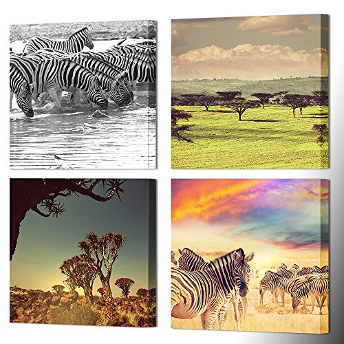 VVOVV Wall Decor - 4 Panel Animal Canvas Painting Giclee Prints Zebra On Grasslands Of African Savanna Landscape Wall Art Poster Fantasy Artwork For Bedroom (Savanna Animals)