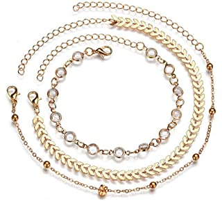 Simsly a tre strati cavigliera braccialetto piede catena con foglie accessori gioielli per donne e ragazze (oro) jl-083