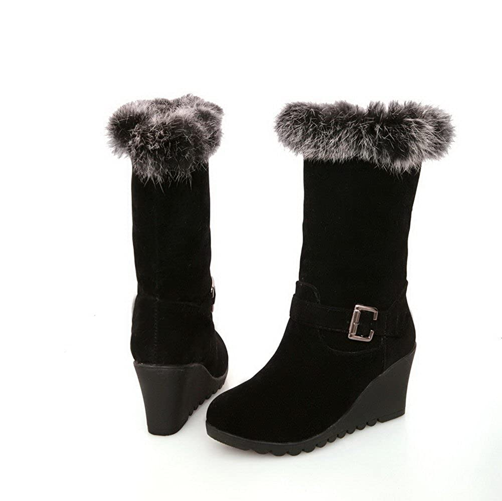 WeenFashion Womens Round Closed with Toe High Heels Nubuck Leather Solid Boots with Closed Fur Ornament and Buckle B00OVQNA92 Boots af8090