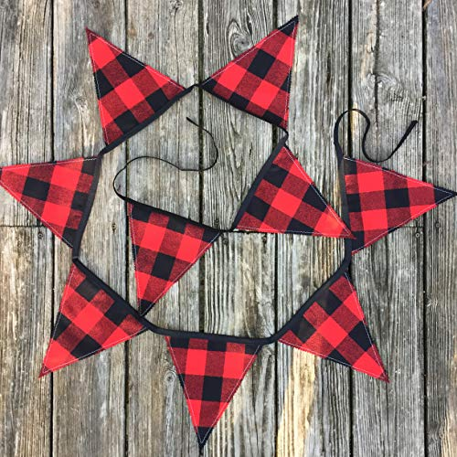 Buffalo Plaid Red and Black Flannel Handmade Holiday Banner 9 ft ()