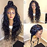 Glueless Lace Front Wigs Brazilian Virgin Human Hair Wigs with Natural Hairline Wave Full Lace Wigs with Baby Hair (24 inch Lace Front Wig, 130% Density)