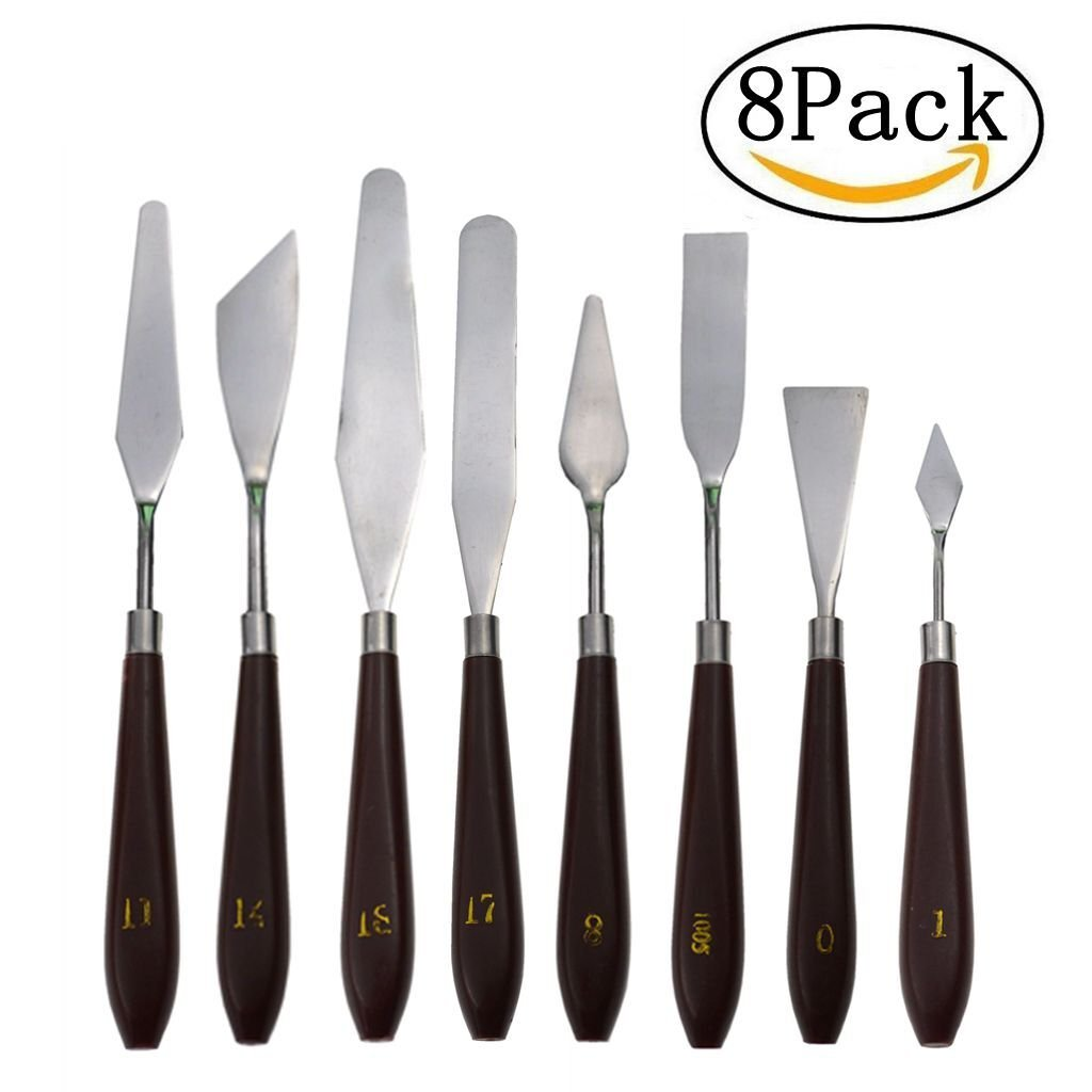 DerBlue 8 Pcs Stainless Steel Artists Palette Knife Set,Spatula Palette Knife Painting Mixing Scraper,Thin and Flexible Art Tools for Oil Painting, Acrylic Mixing, Etc.