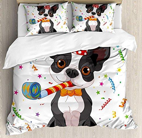 Sham Standard Boston - VCFUN Family Comfort Bed Sheet Kids Birthday Black White Boston Terrier Dog Colorful Party Celebration Backdrop, 4 Piece Bedding Sets Duvet Cover Oversized Bedspread, King Size