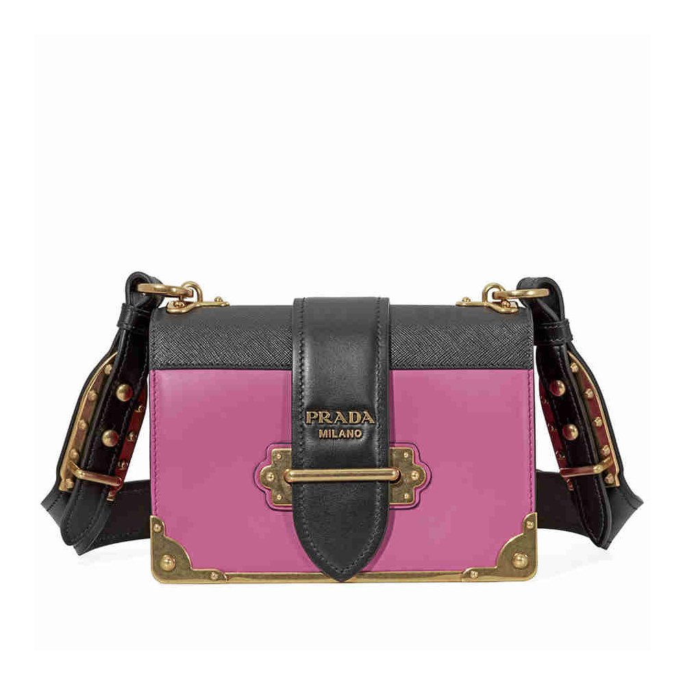 62146d1ae2ec28 Amazon.com: Prada Women's Cahier Leather Bag Pink: Clothing