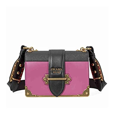 5375b20ddc1b4a Amazon.com: Prada Women's Cahier Leather Bag Pink: Clothing