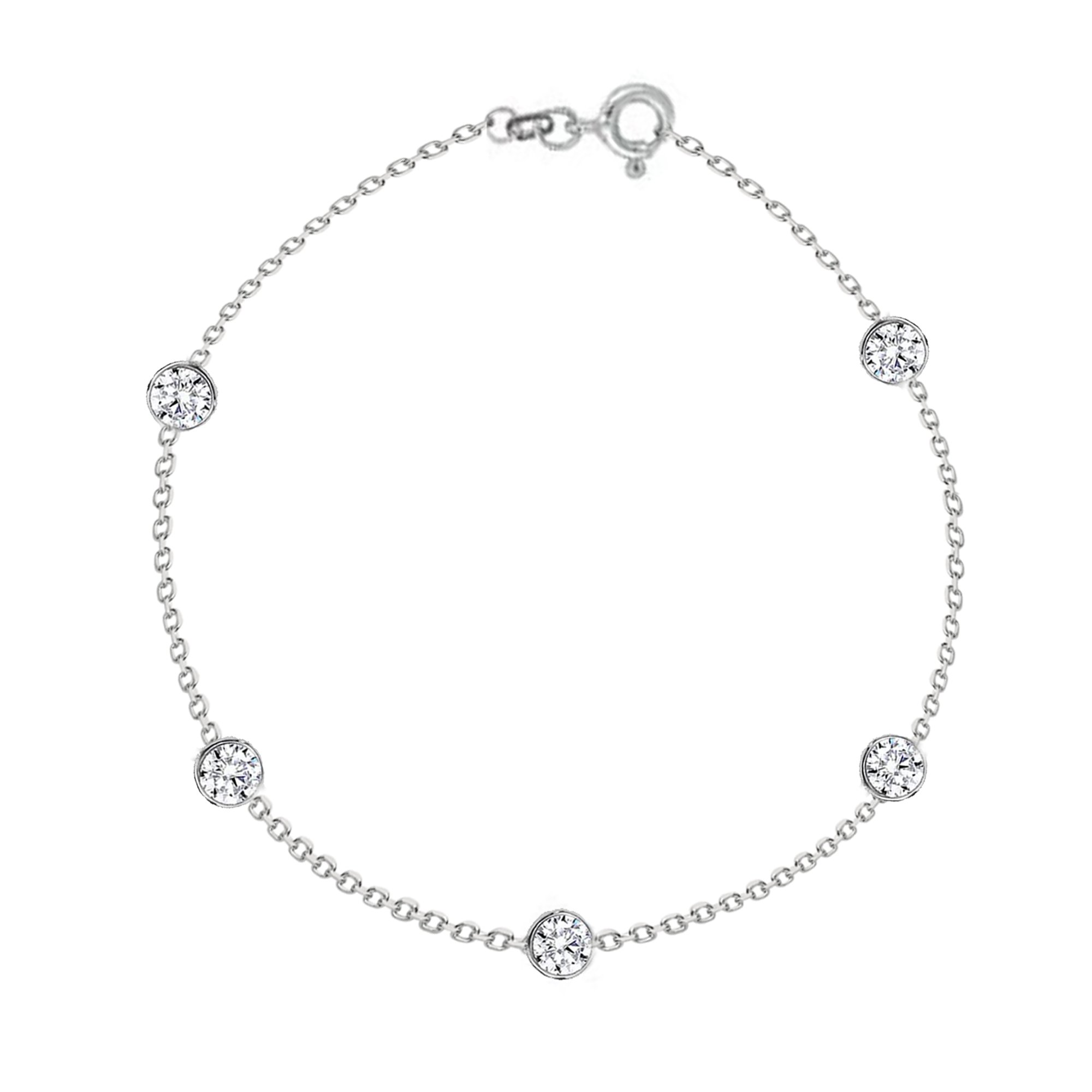 Sterling Silver Cubic Zirconia CZ By the Yard Station Anklet Anklet Bracelet 10 Inches