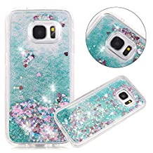 Galaxy S7 Case, NOKEA Galaxy S7 Case Flowing Liquid Floating Luxury Bling Glitter Sparkle Love Heart Case Cover Fashion Creative for Grils Children (Green)
