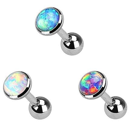 Tragus piercing jewelry opal