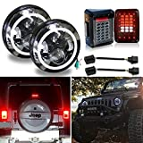 Uni-light LED Round Headlight 7 inch 2PCS Angel Eyes + Tail Lamp For Jeep JK Wrangler 07-17 Cree DOT/E-MARK Approved 6000K Hi/lo Beam and DRL lamp Halo light, J005+W008