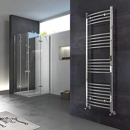 1600 x 500 mm Curved White Heated Towel Rail Radiator Bathroom Kitchen Warmer