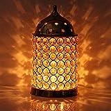 Hashcart Decorative Brass Crystal Diamond Tea Light Candle Holder Lantern Straight