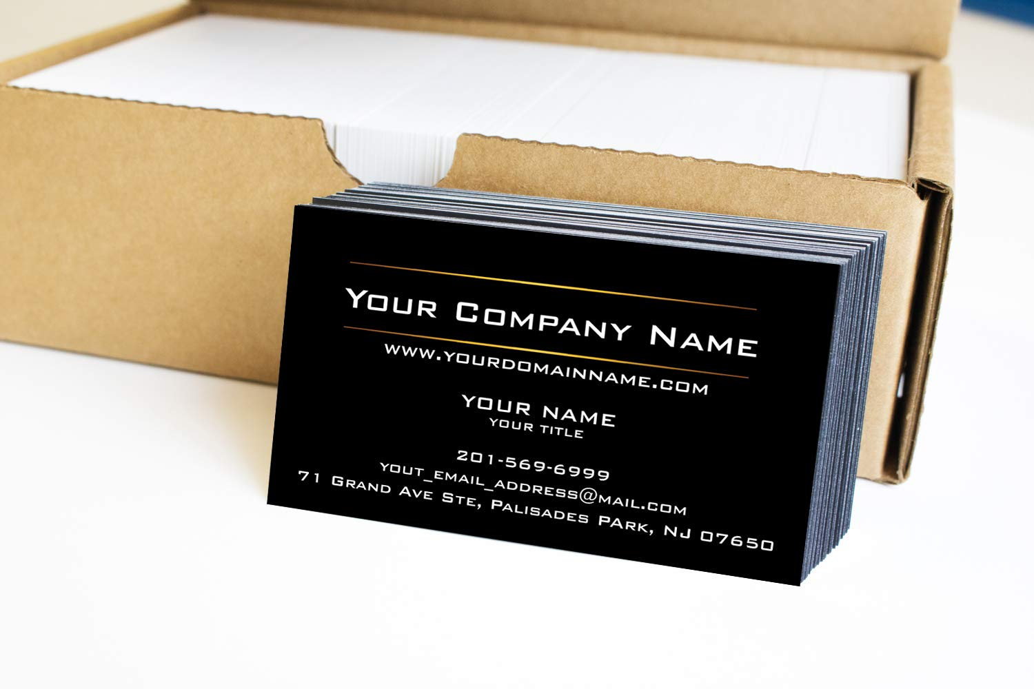 Simple Custom Premium Business Cards 500 Full color - Black business cards with Two Sunny lines design- Black front-White back (129 lbs. 350gsm-Thick paper),Offset Printing, Made in The USA
