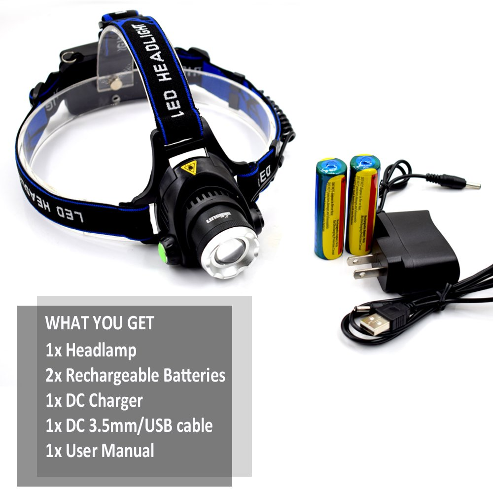 USB Rechargeable LED Headlamp Aidisun High Lumen Waterproof Headlight Zoomable Hand Free Flashlight Best for Camping Hiking Hunting Outdoor Sport or Home Emergency (18650 Battery Included) by Aidisun (Image #7)