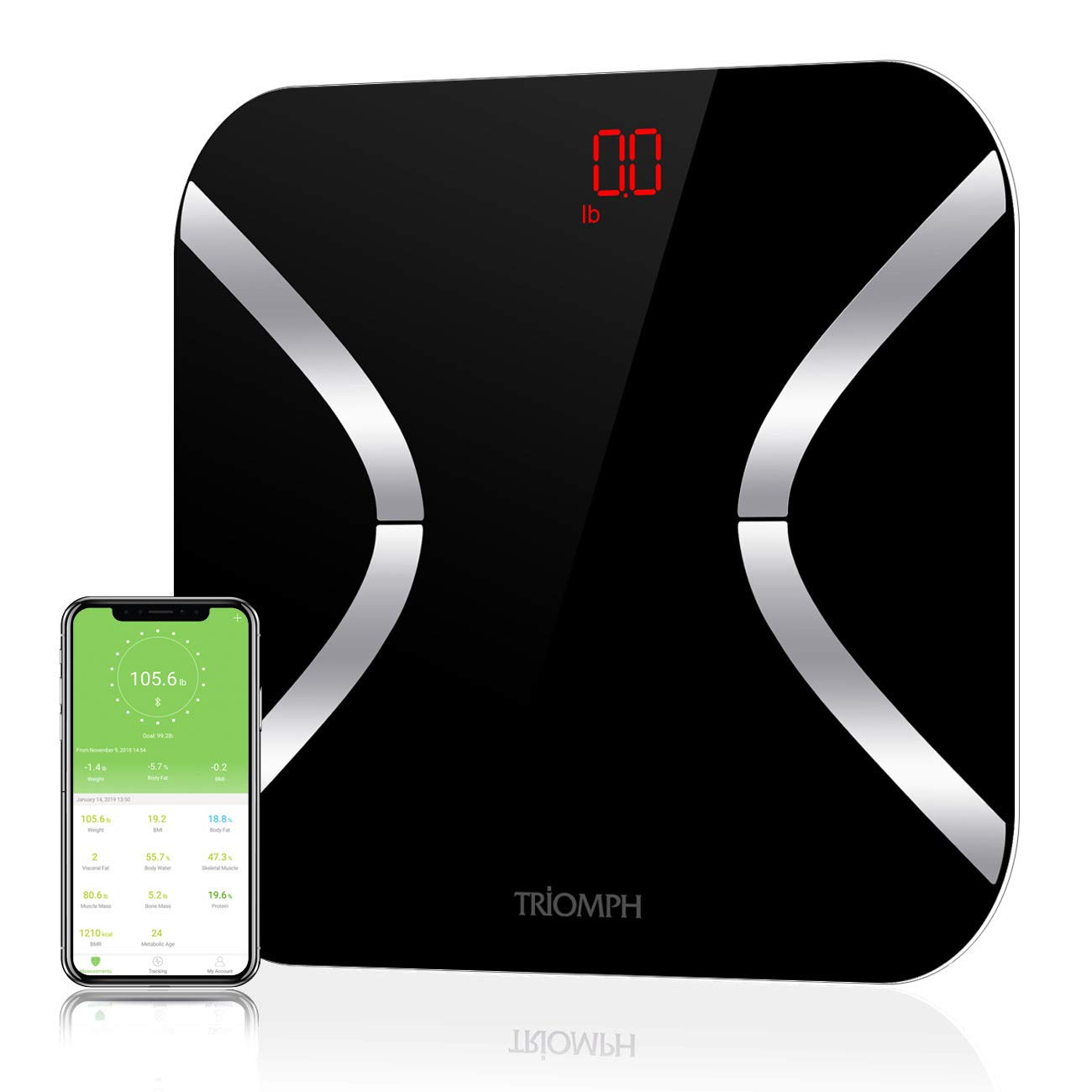 Triomph Bluetooth Body Fat Scale, Smart Wireless Digital Bathroom Weight Scale Body Composition Monitor with iOS Android APP for Body Weight, Fat, Water, BMI, BMR, Muscle Mass, Black