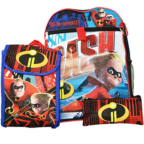 Disney Pixar The Incredibles 2 Backpack with Lunch Bag, Water Bottle, Pouch and More (5 Pc School Supplies Set)