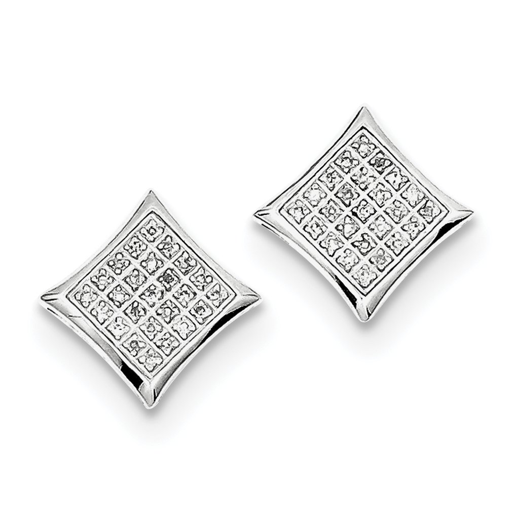 ICE CARATS 925 Sterling Silver Diamond Square Shaped Screwback Post Stud Ball Button Earrings Fine Jewelry Gift Set For Women Heart