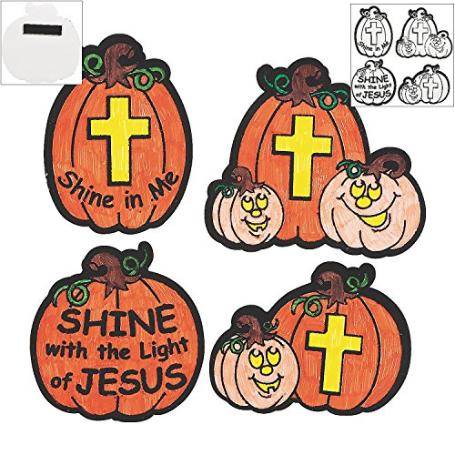 1 X Color Your Own Christian Pumpkin Fuzzy Magnets - Sunday School & Crafts for Kids -