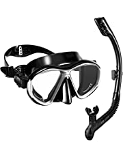 OMORC Snorkel Set, Anti-Fog Snorkel Mask with Impact Resistant Panoramic Tempered Glass, Free Breathing Anti-Leak Dry Top Snorkel, Professional Snorkeling Set for Adult Youth