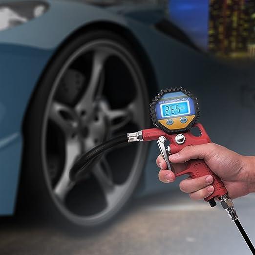MICTUNING Digital eléctrico inflador de neumáticos con manguera y manómetro para compresor de aire Para el automóvil y la motocicleta de alta precisión y ...