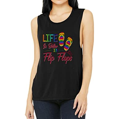 da4215ad5 Amazon.com  Quotes Apparel Women s Life is Better in Flip Flops Rainbow  LGBT Pride Shirt - Tank Top  Clothing