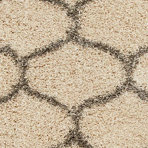 "AmazonBasics Modern Plush Moroccan Trellis Shag Area Rug - 4x6 (3'11"" x 5'3""), Beige"