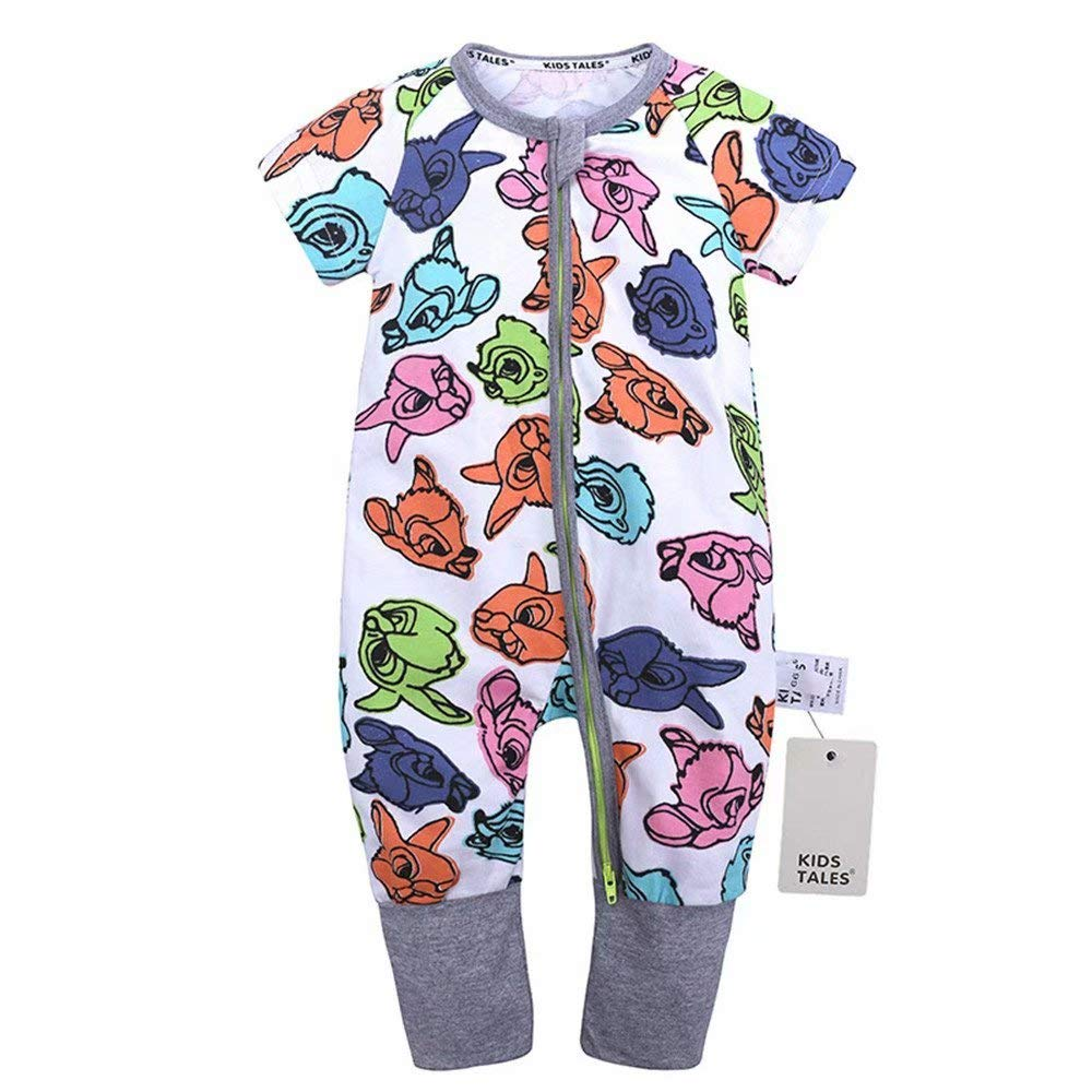Kings Love Baby Boys /& Girls Zipper Closure Short Sleeve Pajama Sleeper Cotton Romper Size 3M-3T
