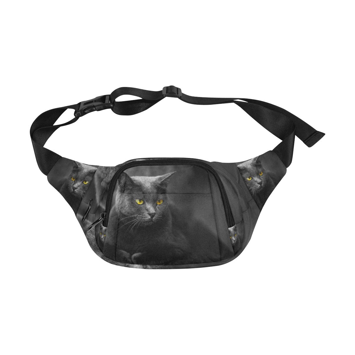 The Black Cat With Yellow Eyes Fenny Packs Waist Bags Adjustable Belt Waterproof Nylon Travel Running Sport Vacation Party For Men Women Boys Girls Kids