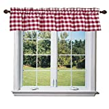 Kitchen Window Treatments Red lovemyfabric Poly Cotton Gingham Checkered Plaid Design Kitchen Curtain Valance Window Treatment-Red