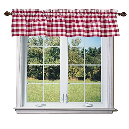 lovemyfabric Poly Cotton Gingham Checkered Plaid Design Kitchen Curtain Valance Window Treatment-Red