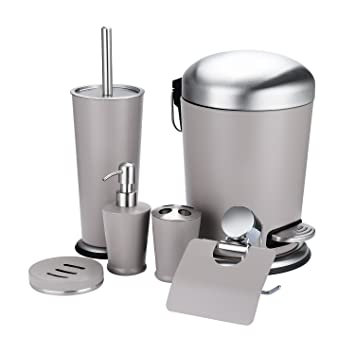 6 Piece Bathroom Accessory Set, Stainless Steel Bath Ensemble Bath Set  Lotion Bottles,