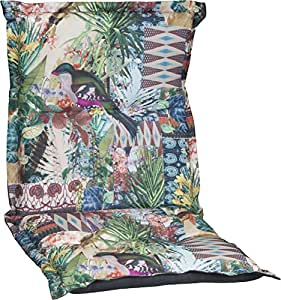 –Cojín para sillas de jardín con respaldo acolchado para baja con diseño de jungla Premium Funda de 100% algodón