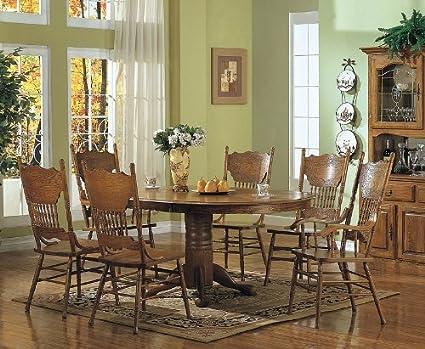 Amazoncom 7pcs Country Solid Oak Nostalgia Dining Table 6