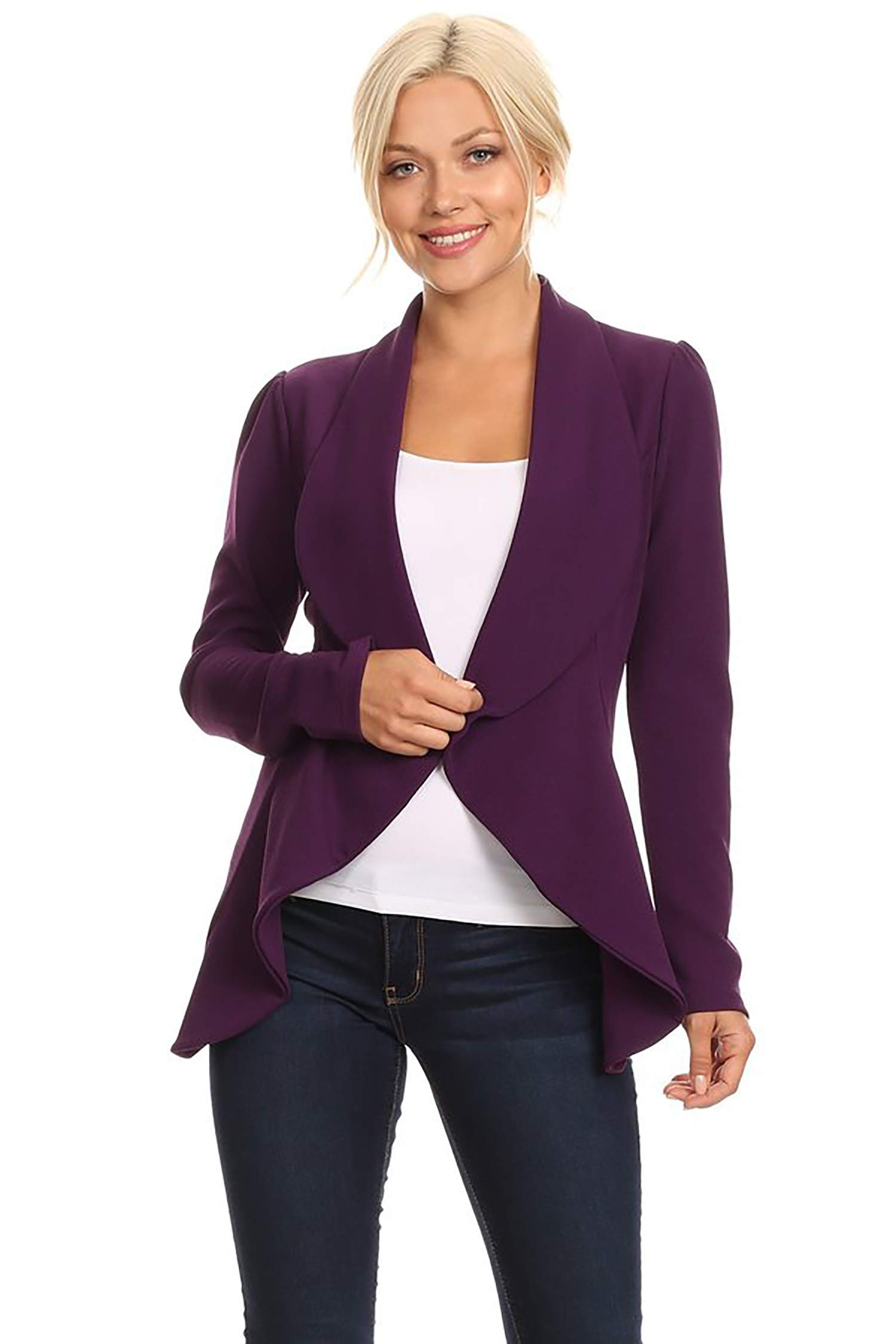Women's Stretch Long Sleeves Open Front Blazer/Made in USA (S-3XL) Plum 2XL