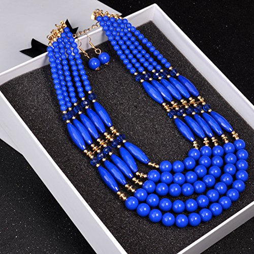 African Beads Jewelry Set Nigerian Wedding 2017 New African Beads Jewelry Sets Acrylic Beads Necklace Set (Blue) (Transmission Damper)
