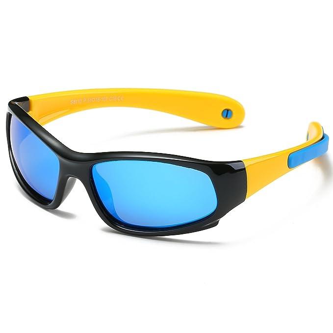 ca9e4f13a6 SojoS Kids Gafas De Sol Niños Y Niñas 3-10 Años Polarizadas Marco Flexible  SK207 Marco Negro/Correa Amarilla/Lentes Azules: Amazon.es: Ropa y  accesorios