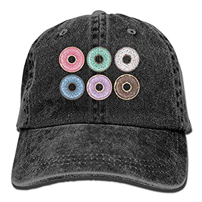 MAKEMR Cartoon Donuts Adult Unisex Adjustable Denim Hat Plain Trucker Washed Cap