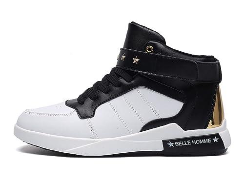 tqgold Scarpe da Ginnastica Sneakers Alte Sportive Fitness Uomo (Bianca Nero 6ea009cebf1