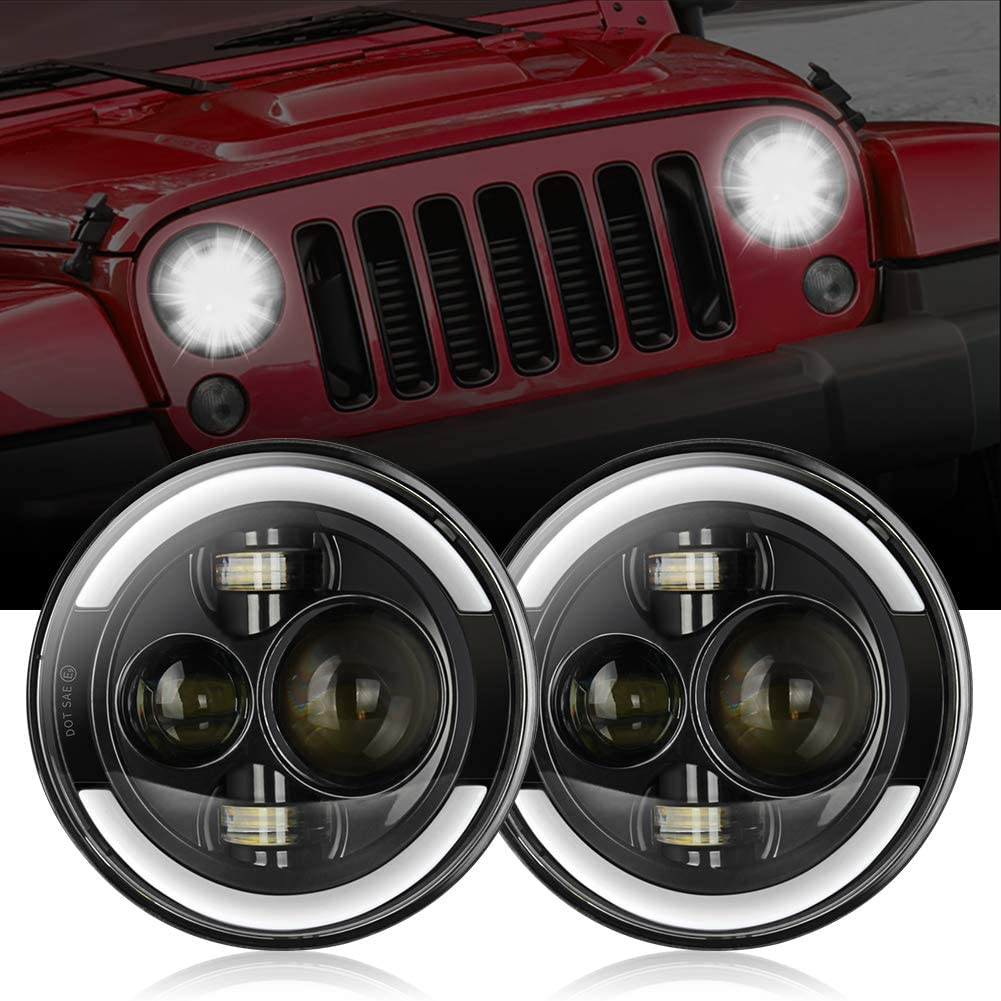 Jeep LED Headlights, 7 Inch 150W Round Jeep Headlights with Ring Angel Eyes Lights DRL High Low Beam for Motorcycle Jeep TJ Wrangler LJ JK Fog Lights, Jeep Halo LED Headlights with H4 H13 Adapter