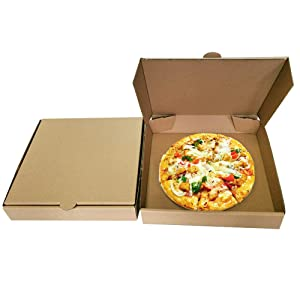 9 inches Premium Kraft Corrugated Pizza Boxes Take Out Containers Pizza Paperboard Box Takeaway Cardboard Takeaway Fast Food Postal Packaging Boxes(Pack of 10)