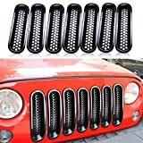 7pcs Black Front Grill Mesh Grille Insert Kit For Jeep Wrangler Rubicon Sahara Jk 2007-2015