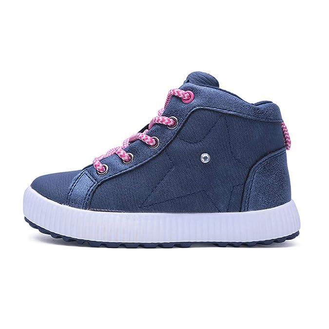 Botas de Nieve Niñas Niños Botines de Invierno Fur Calentar Impermeable Cuero Botas Anti-Deslizante Zapatos: Amazon.es: Zapatos y complementos