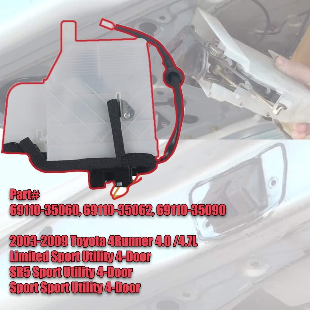 Rear Tailgate Latch for 03-09 Toyo-ta 4Runner 4.0L 4.7L 69110-35060 GELUOXI 69110-35062 Rear Trunk Lock Actuator Motor Replace# 69110-35090