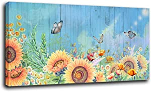 Anolyfi Sunflower Canvas Wall Art Butterfly Picture Aqua Blue Background Painting Modern Yellow Flowers Artwork Prints Framed for Bathroom Bedroom Living Room Kitchen Office Home Decor 48