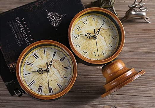 Amazon.com : Family Fireplace Clocks Double-Sided Desktop Watch Tablecloth Clocks Living Room Retro Wood S ó LIDA Silent Clock Decoration ó Desk n Suitable ...