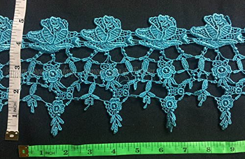 2 Yards, Rose Venise Lace Trim, Beautiful Rose with Mini Flowers, Turquoise, 5 Inch -