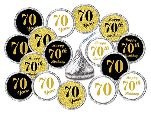 70th Birthday Kisses Stickers, (Set of 324) Chocolate Drops Labels Stickers For 70th Birthday, Hershey's Kisses Party Favors Decor, 9 Designs (36 Stickers of Each)