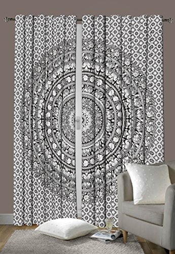 Indian Cotton Elephant Mandala Window Door Cover Curtain
