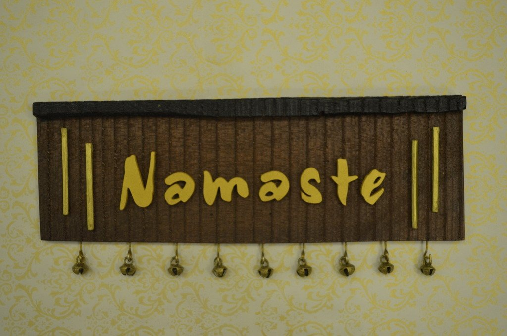 Karigaari India Sleeper Wooden Namaste Name Board