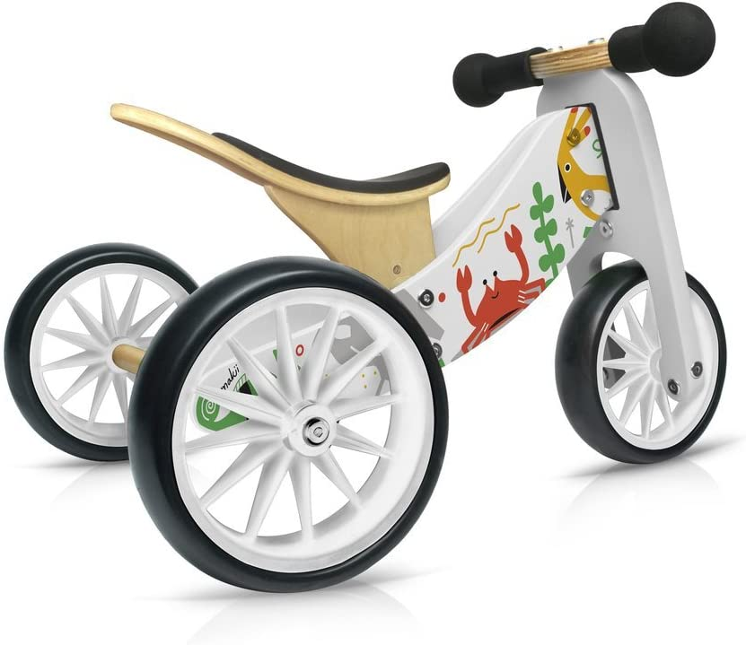Ages 12-24 Months Kinderfeets TinyTot Bamboo Balance Bike and Tricycle in 1
