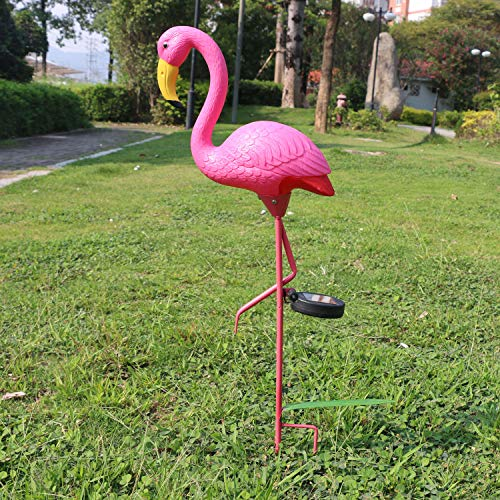 W-DIAN Pink Flamingo Solar Lights Outdoor Pathway Metal Yard Art Plastic Patio Path Lawn Garden Outside Post Lighting 1 Pack Flamingo Gifts